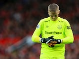 Everton goalkeeper Jordan Pickford reacts after conceding during his side's Premier League clash with Manchester United on September 17, 2017