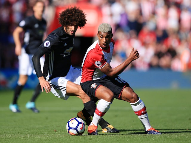 Marouane Fellaini and Mario Lemina in action during the Premier League game between Southampton and Manchester United on September 23, 2017