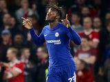 Michy Batshuayi nabs the second during the EFL Cup game between Chelsea and Nottingham Forest on September 20, 2017