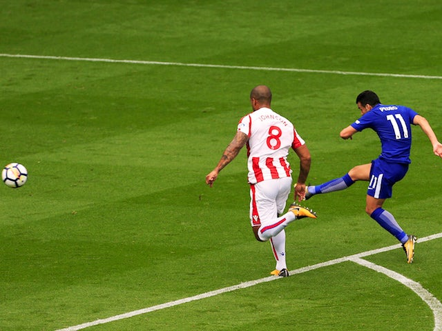 Pedro scores the second during the Premier League game between Stoke City and Chelsea on September 23, 2017