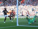 Romelu Lukaku scores the opener during the Premier League game between Southampton and Manchester United on September 23, 2017