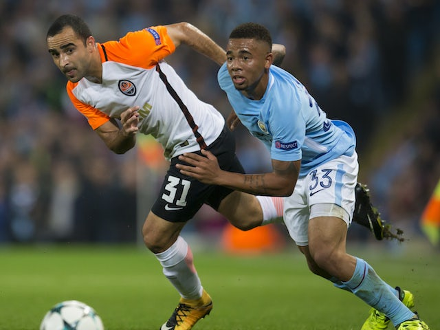 Gabriel Jesus and Ismaily in action during the Champions League game between Manchester City and Shakhtar Donetsk on September 26, 2017