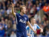 Harry Kane in action during the Premier League game between Huddersfield Town and Tottenham Hotspur on September 30, 2017