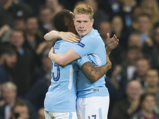 Kevin De Bruyne celebrates scoring during the Champions League game between Manchester City and Shakhtar Donetsk on September 26, 2017