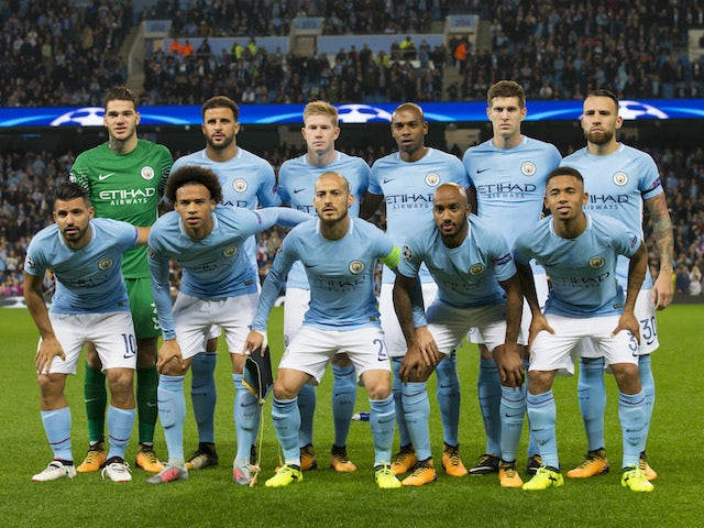 City players line up for a team photo prior to the Champions League game between Manchester City and Shakhtar Donetsk on September 26, 2017