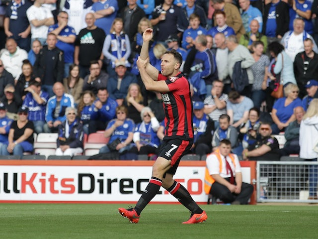 Bournemouth midfielder Marc Pugh appeals for a handball during his side's Premier League clash with Leicester City at the Vitality Stadium on September 30, 2017
