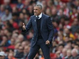 Brighton manager Chris Hughton reacts during his side's Premier League clash with Arsenal at the Emirates Stadium on October 1, 2017