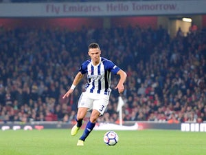 Kieran Gibbs in action for West Bromwich Albion during his side's Premier League clash with Arsenal