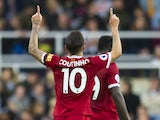 Liverpool midfielder Philippe Coutinho reacts after scoring during his side's Premier League clash with Newcastle United at St James' Park on October 1, 2017