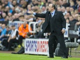 Newcastle United manager Rafael Benitez reacts during his side's Premier League clash with Liverpool at St James' Park on October 1, 2017