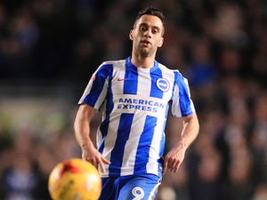 Sam Baldock in action for Brighton & Hove Albion during a Championship clash with Newcastle United in 2016-17