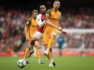 Shane Duffy in action for Brighton & Hove Albion during a Premier League clash with Arsenal