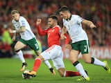 Hal Robson-Kanu, Ciaran Clark and James McClean in action during the World Cup qualifier between Wales and the Republic of Ireland on October 9, 2017