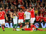 Joe Allen goes down injured during the World Cup qualifier between Wales and the Republic of Ireland on October 9, 2017