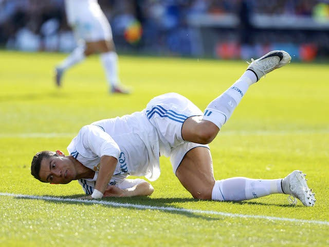 Cristiano Ronaldo in action during the La Liga game between Getafe and Real Madrid on October 14, 2017