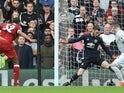 David de Gea saves Joel Matip's shot during the Premier League game between Liverpool and Manchester United on October 14, 2017