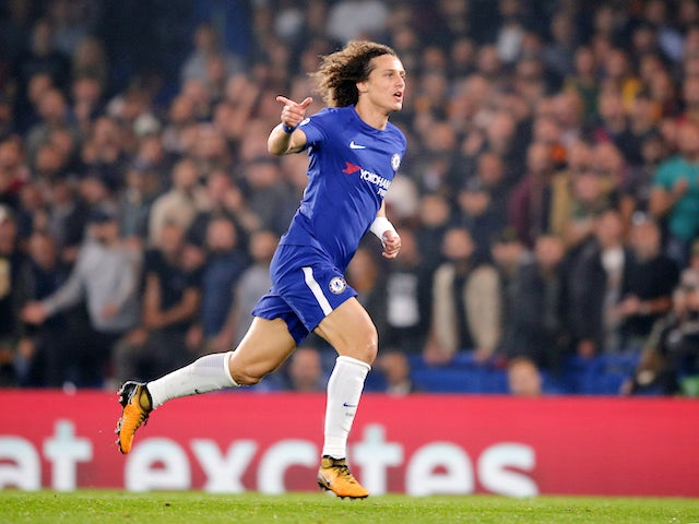 David Luiz celebrates opening the scoring during the Champions League group game between Chelsea and Roma on October 18, 2017