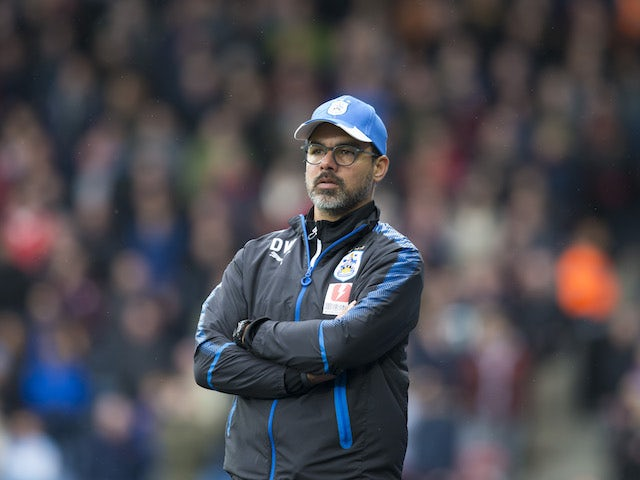 David Wagner watches on during the Premier League game between Huddersfield Town and Manchester United on October 21, 2017