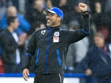 A gleeful David Wagner during the Premier League game between Huddersfield Town and Manchester United on October 21, 2017