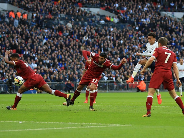 Dele Alli scores his side's third during the Premier League game between Tottenham Hotspur and Liverpool on October 22, 2017