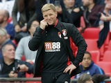 Eddie Howe watches his side go down again during the Premier League game between Tottenham Hotspur and Bournemouth on October 14, 2017