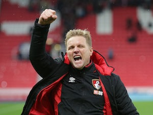 A triumphant Eddie Howe after the Premier League game between Stoke City and Bournemouth on October 21, 2017