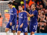 Eden Hazard is congratulated by teammates after scoring during the Champions League group game between Chelsea and Roma on October 18, 2017
