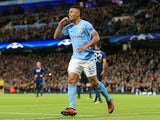Gabriel Jesus celebrates scoring the second during the Champions League group game between Manchester City and Napoli on October 17, 2017