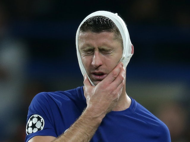 A bandaged Gary Cahill during the Champions League group game between Chelsea and Roma on October 18, 2017