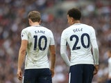 Harry Kane and Dele Alli pictured from behind during the Premier League game between Tottenham Hotspur and Bournemouth on October 14, 2017