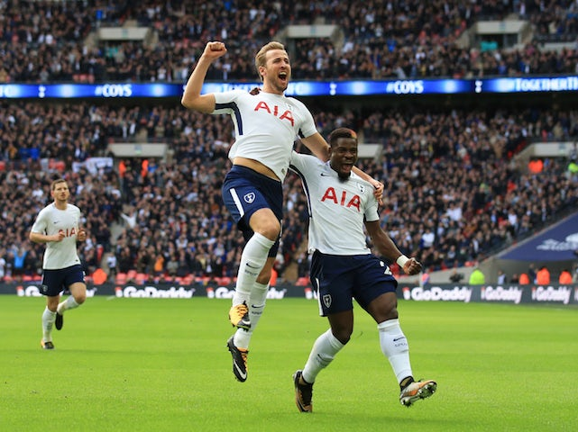 Harry Kane celebrates scoring the opener during the Premier League game between Tottenham Hotspur and Liverpool on October 22, 2017
