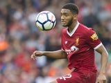 Joe Gomez looks concerned during the Premier League game between Liverpool and Manchester United on October 14, 2017