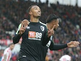 Junior Stanislas celebrates scoring during the Premier League game between Stoke City and Bournemouth on October 21, 2017