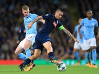 Kevin De Bruyne and Marek Hamsik in action during the Champions League group game between Manchester City and Napoli on October 17, 2017