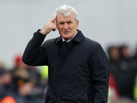 Mark Hughes reacts during the Premier League game between Stoke City and Bournemouth on October 21, 2017