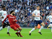 Mohamed Salah pulls one back during the Premier League game between Tottenham Hotspur and Liverpool on October 22, 2017