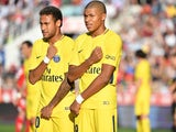 Neymar and Kylian Mbappe side by side during the Ligue 1 game between Dijon and Paris Saint-Germain on October 14, 2017