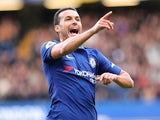 Pedro celebrates scoring the opener during the Premier League game between Chelsea and Watford on October 21, 2017