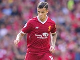 Philippe Coutinho in action during the Premier League game between Liverpool and Manchester United on October 14, 2017