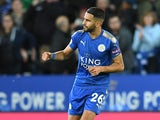 Riyad Mahrez celebrates grabbing the equaliser during the Premier League game between Leicester City and West Bromwich Albion on October 16, 2017