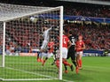 Romelu Lukaku has a shot during the Champions League group game between Benfica and Manchester United on October 18, 2017