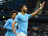 Sergio Aguero celebrates opening the scoring during the Premier League game between Manchester City and Burnley on October 21, 2017