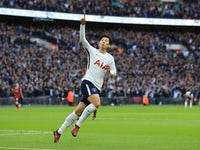 Son Heung-min celebrates doubling his side's advantage during the Premier League game between Tottenham Hotspur and Liverpool on October 22, 201