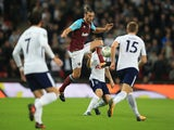 Andy Carroll in action during the EFL Cup game between Tottenham Hotspur and West Ham United on October 25, 2017