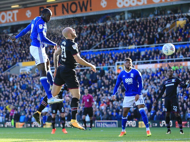Cheick N'Doye has a header saved during the Championship game between Birmingham City and Aston Villa on October 29, 2017