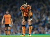 Conor Coady in action during the EFL Cup game between Manchester City and Wolverhampton Wanderers on October 24, 2017