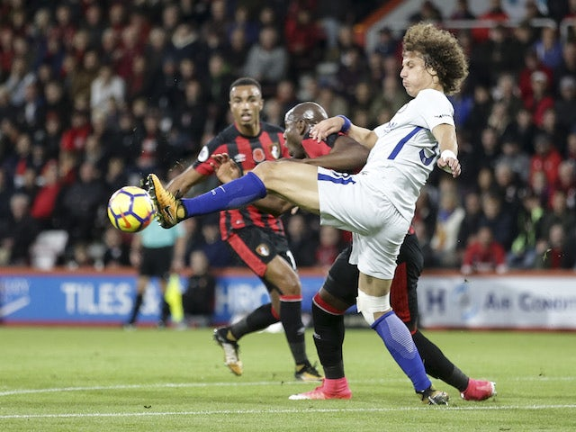 David Luiz and Benik Afobe in action during the Premier League game between Bournemouth and Chelsea on October 28, 2017