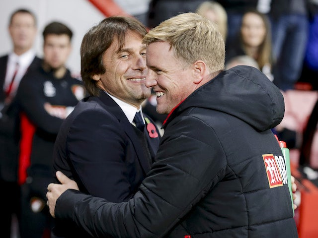 Eddie Howe greets Antonio Conte ahead of the Premier League game between Bournemouth and Chelsea on October 28, 2017