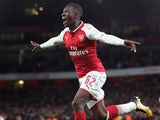 Eddie Nketiah celebrates scoring during the EFL Cup game between Arsenal and Norwich City on October 24, 2017