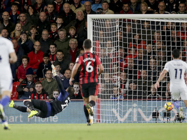 Eden Hazard scores during the Premier League game between Bournemouth and Chelsea on October 28, 2017
